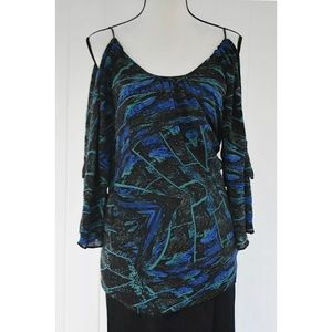 Parker Silk Cold Shoulder Blouse Blue Sz XS